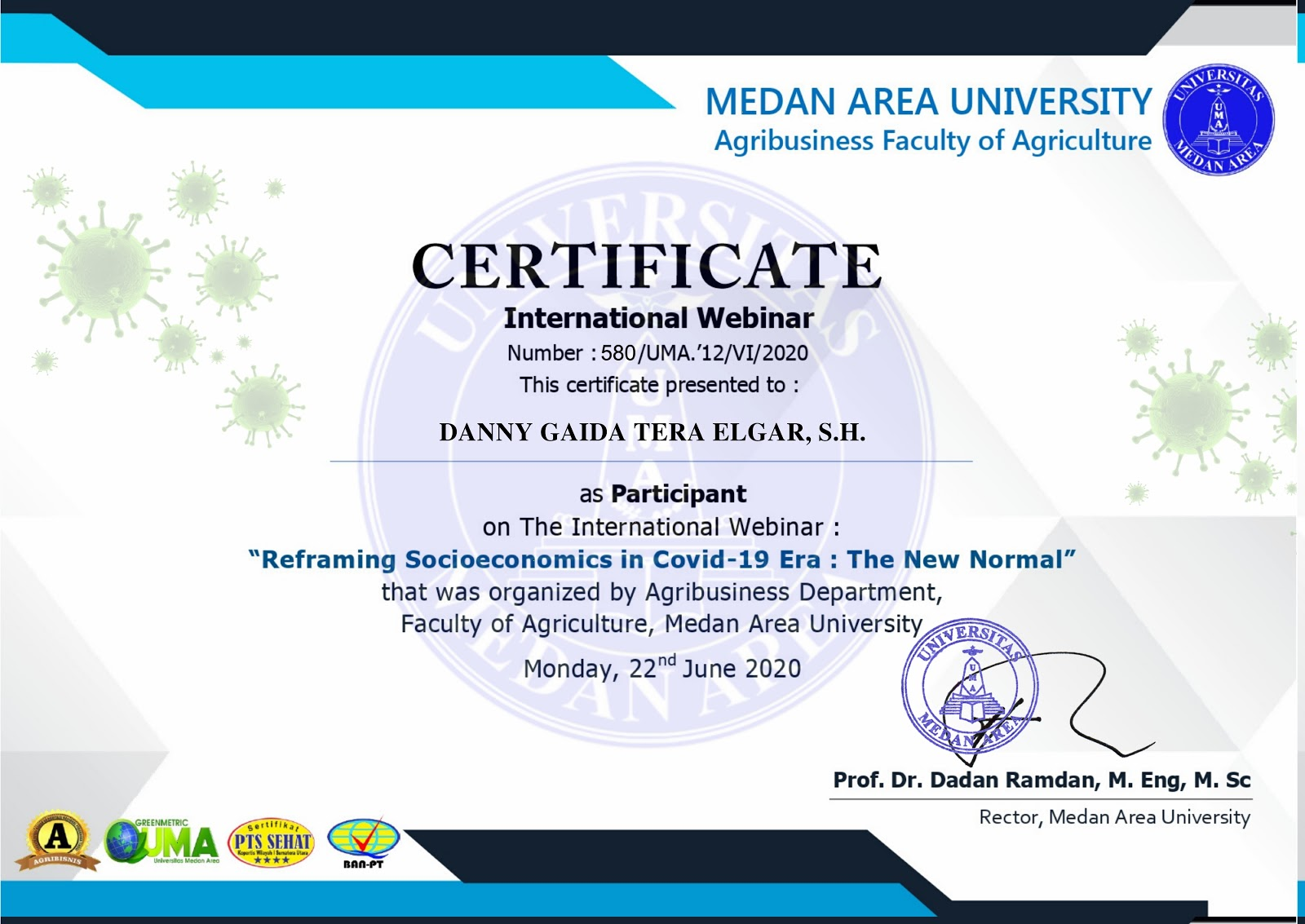 Certificate International Webinar Universitas Medan Area (UMA) | Reframing Socioeconomics in Covid-19 Era: The New Normal