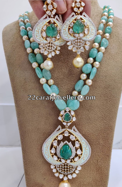 Emerald Beads Set Meena Pendant