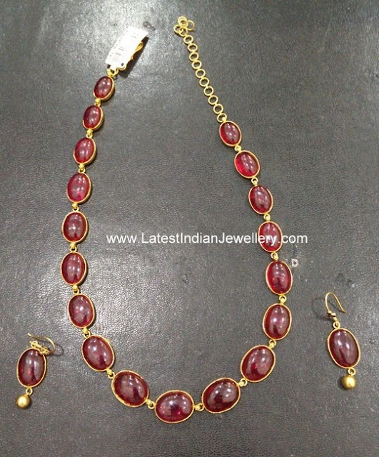 Simple Red Pota Ruby Necklace