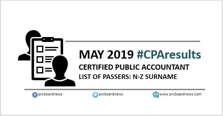 N-Z PASSERS: May 2019 CPA board exam result