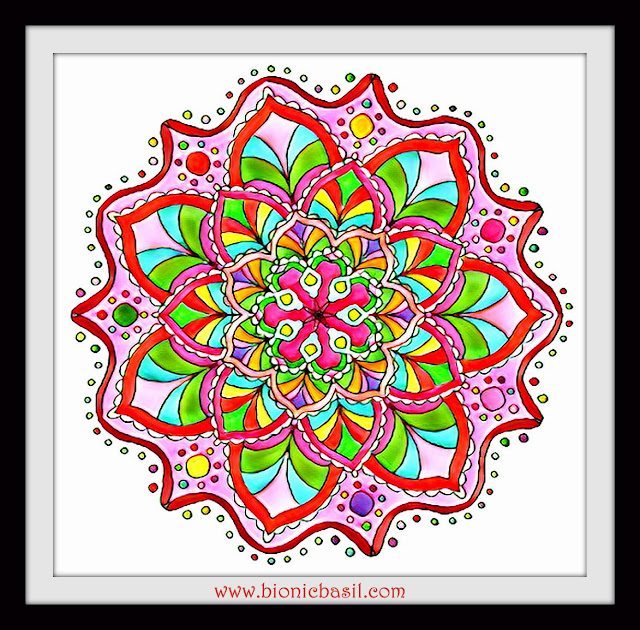 Mandalas on Monday ©BionicBasil® Colouring With Cats Mandala #119 coloured by Cathrine Garnell