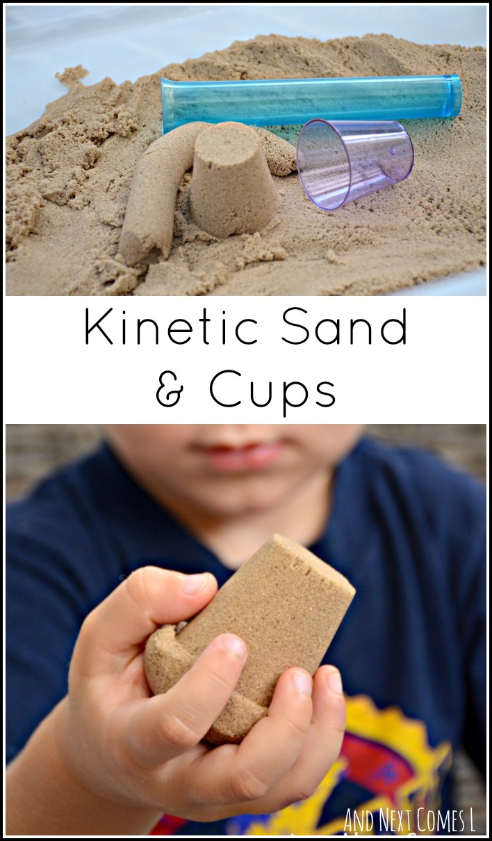 Fine motor sensory and math play using kinetic sand and cups from And Next Comes L