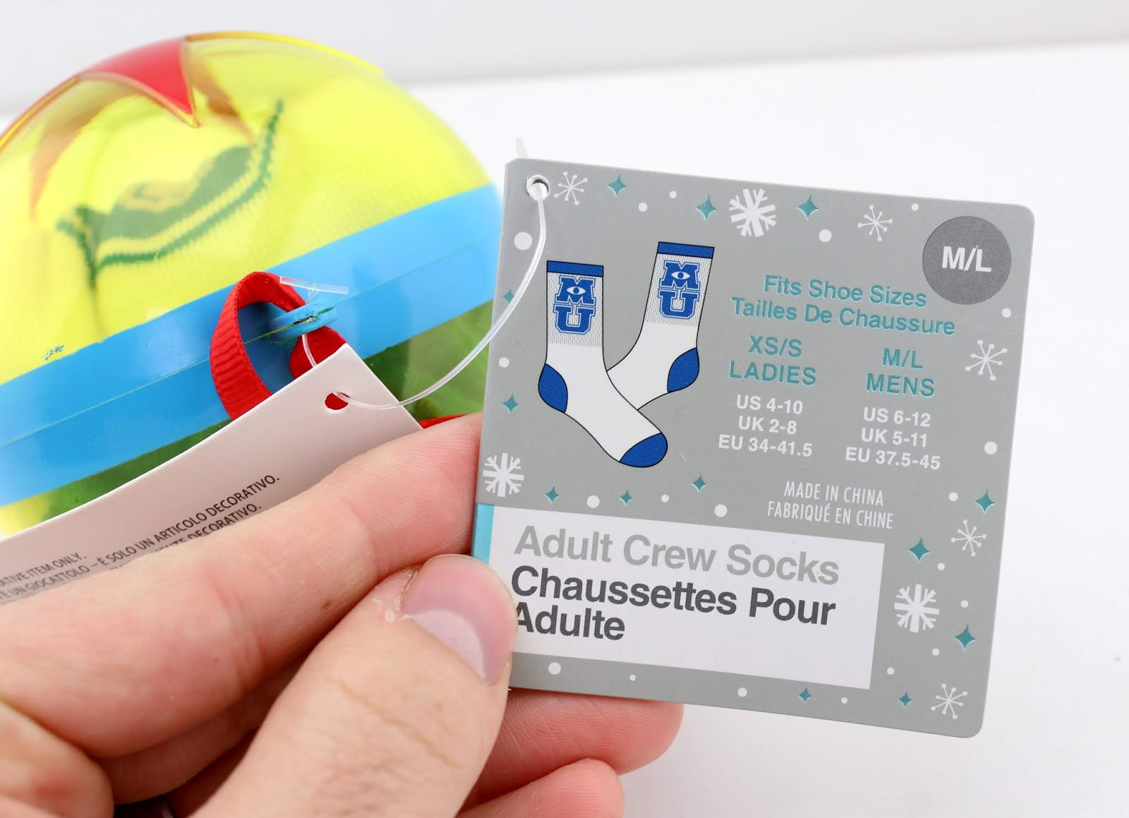 disney store pixar ball ornament socks