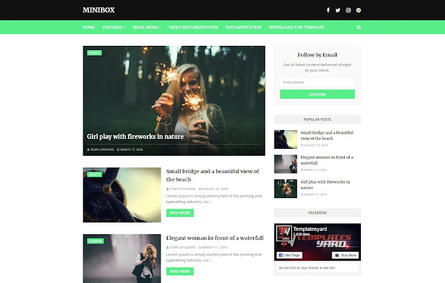 MiniBox Responsive Personal Blog Clean Simple Minimalist Blogger Template Theme