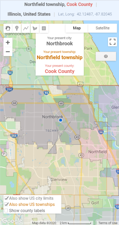 What County Am I In example showing city limits, township boundaries and county lines