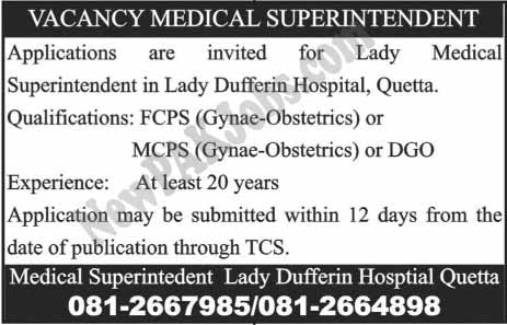 Jobs in Lady Dufferin Hospital Quetta
