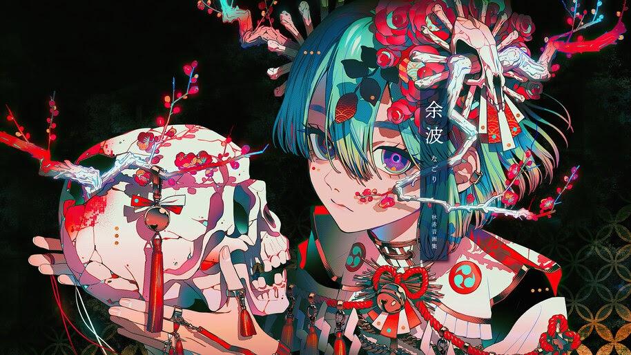 Anime, Girl, Skull, Art, 4K, #6.2613