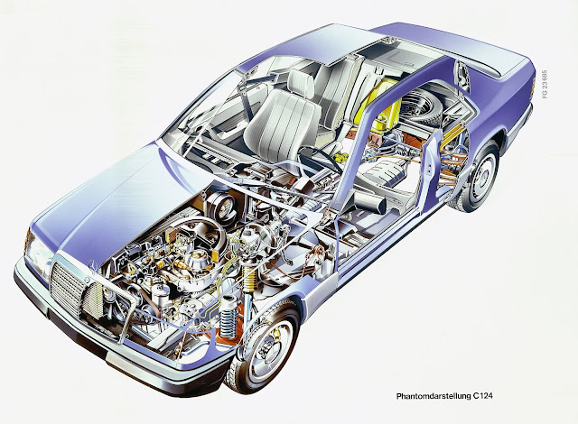 1987-1996 - Mercedes-Benz Coupé - Serie 124 - Vista in sezione del 1987