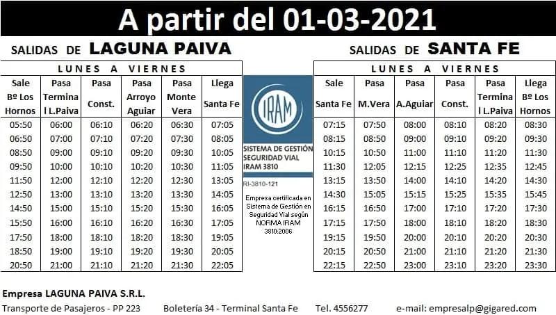 Horarios Laguna Paiva SRL