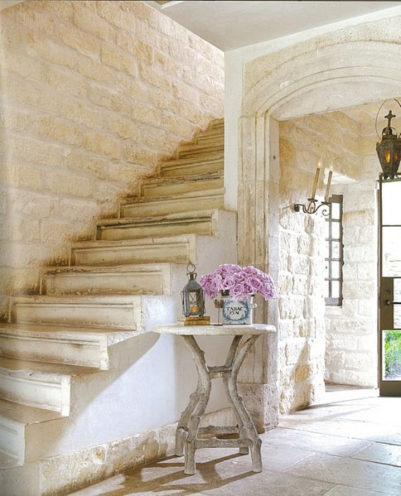 Breathtaking stone stairs and French limestone in the beautiful home of Ruth Gay - Pamela Pierce Designs. #chateaudomingue #pamelapierce