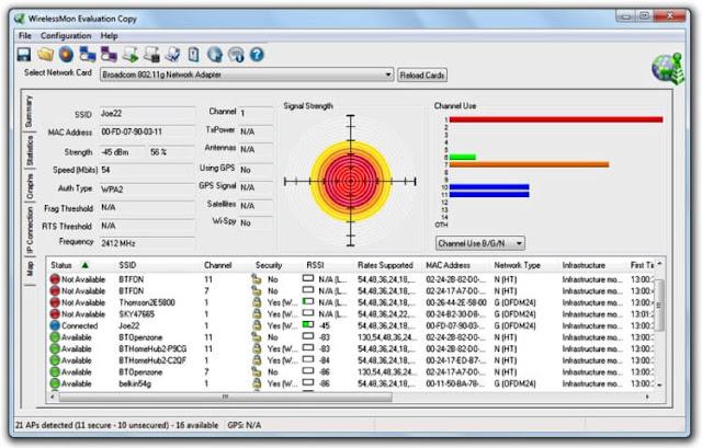 تحميل برنامج البحث عن واي فاي WirelessMon للكمبيوتر احدث اصدار