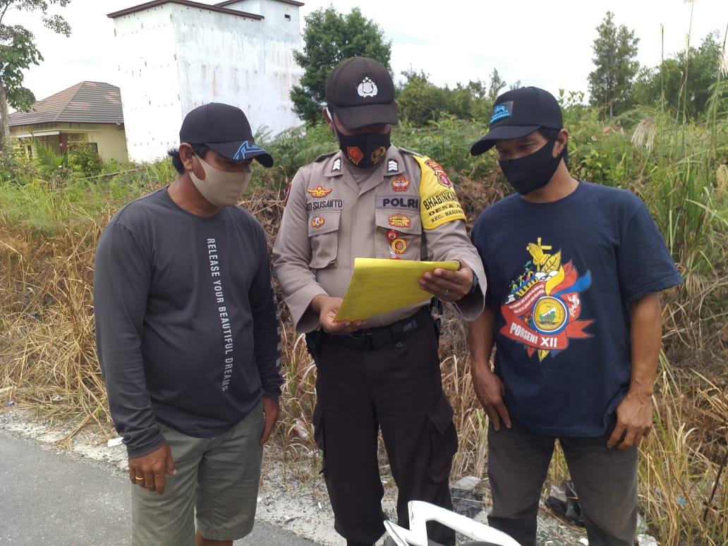 Lagi, Personel Polsek Banama Tingang Sampaikan Maklumat Kapolda Kalteng tentang Larangan Karhutla