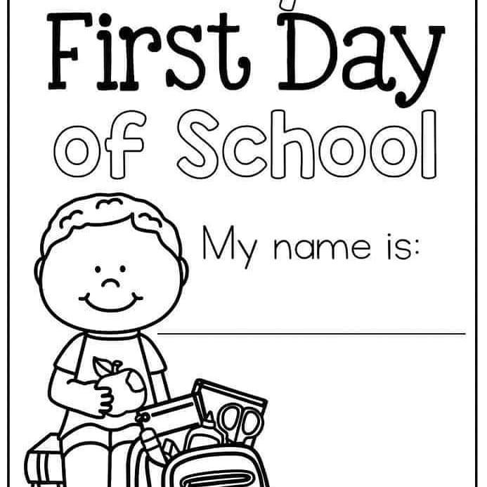 أوراق عمل تلوين العودة للمدرسة باللغة الإنجليزية MY First Day Of School