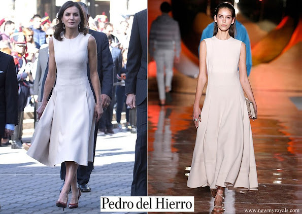 Queen Letizia wore a new midi dress by Pedro del Hierro