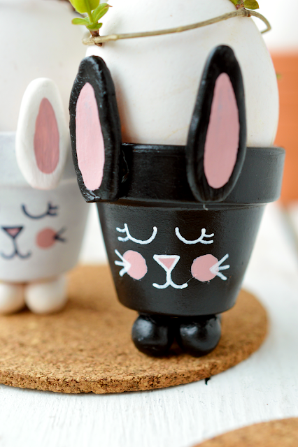 DIY Bunny egg cup made from a mini planter by Motte's blog