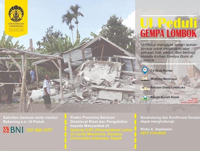 UI Kirim Tim Peduli Bencana Gempa Lombok
