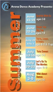 graphic listing the summer dance camps at the Arena Sports Academy in Sioux City