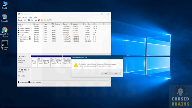 How To Uninstall Prime Operating System open disk management & delete the dual OS volume entirely