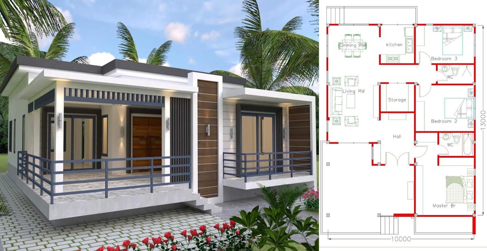 Plan De Maison Plain Pied 3 Chambres Avec 12