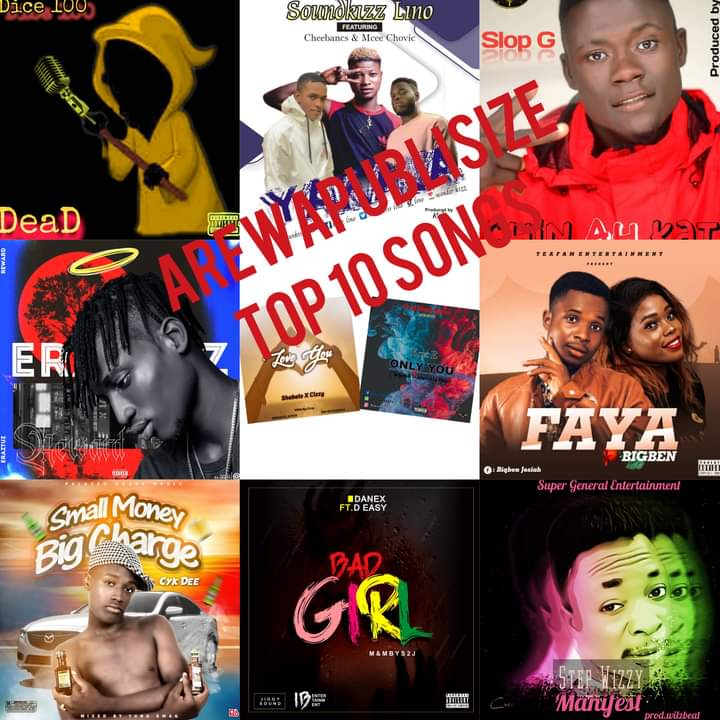 AREWAPUBLISIZE TOP 10 SONGS - SEPTEMBER 1st round ups 2020 - hosted by hype man Vizzy