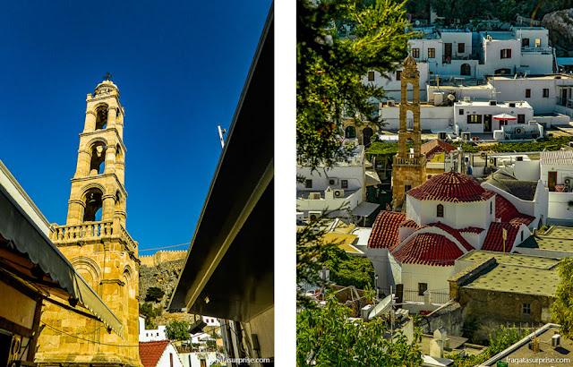 A Igreja de Panagiá (Nossa Senhora), do Século 14, na vila de Lindos, Rodes, Grécia