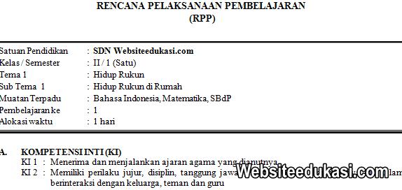 RPP Kelas 2 Tema 1 Kurikulum 2013 Revisi 2019