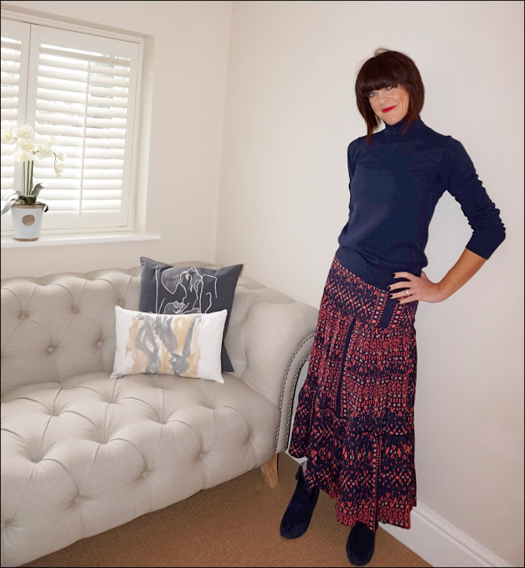 My Midlife Fashion, Boden cashmere polo neck jumper, great plains tarim ladder lace maxi skirt, boden boho boots