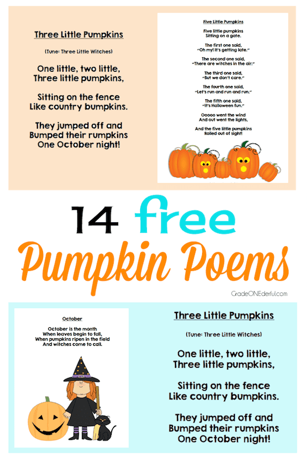 14 Free Pumpkin Poems for Kids #poemsforkids #halloween #pumpkinpoems #gradeonederful