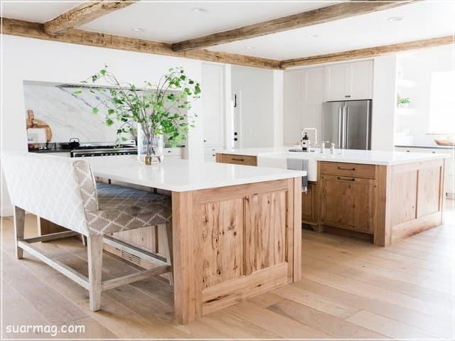 اشكال مطابخ خشب 8   wood kitchens shapes 8