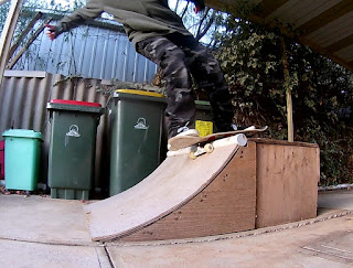 TET Rock'n'Roll attempt on a driveway quarter pipe.
