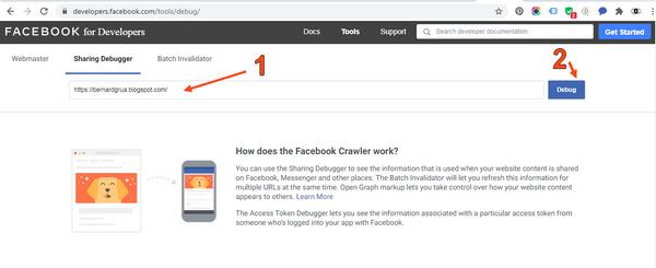 """Testez maintenant l'URL de votre site web sur Facebook  Allez sur https://developers.facebook.com/tools/debug/ 1. Collez l'adresse de votre site blogspot 2. Cliquez sur """"Debug"""""""