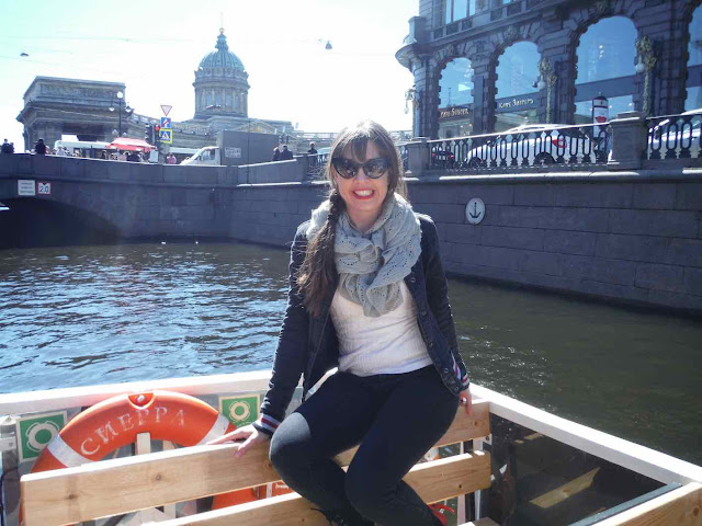 Tourist on boat tour in St. Petersburg