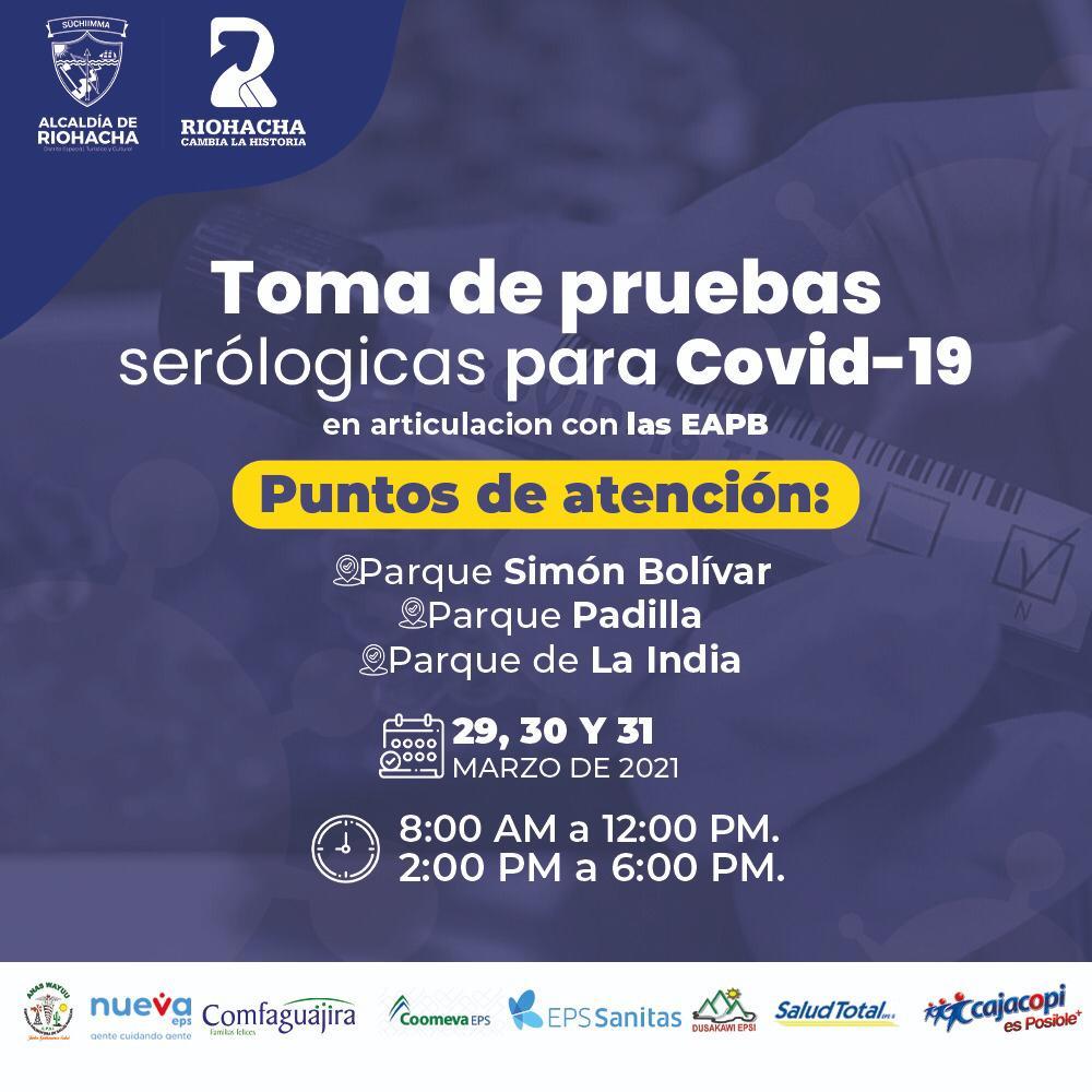 hoyennoticia.com, En tres parques de Riohacha realizan pruebas serológicas para detectar el Covid-19