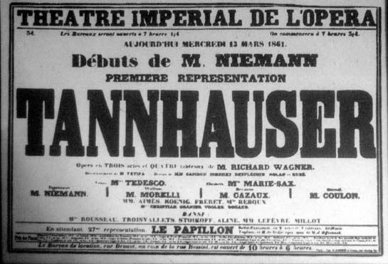 Poster for first Paris production of Wagner's Tannhäuser in 1861