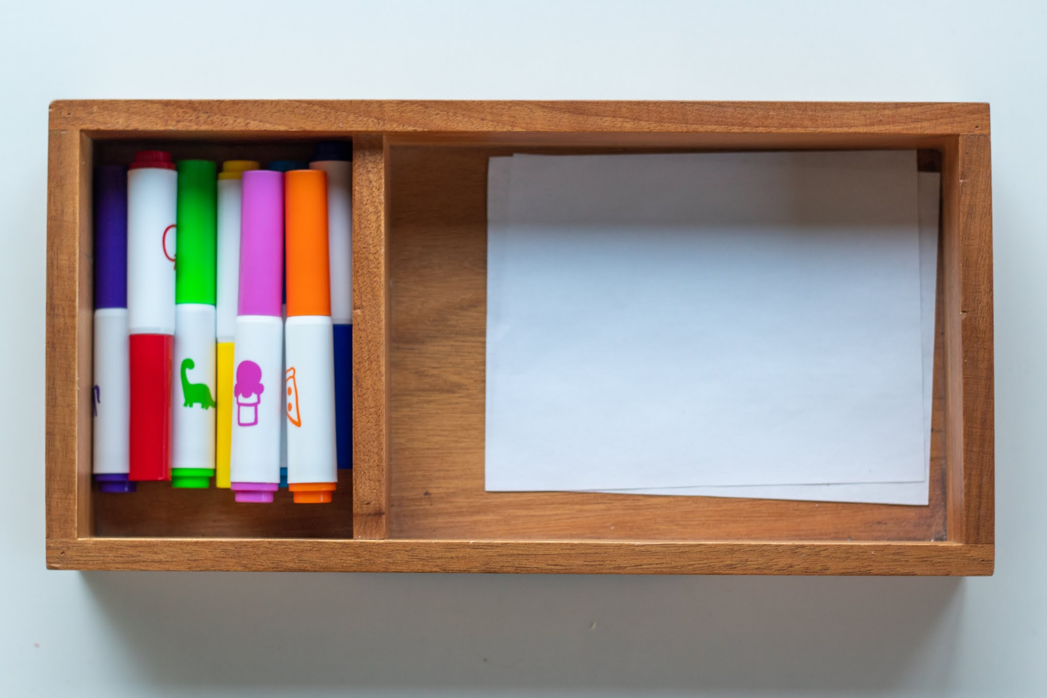 Montessori toddler art supplies at 3-years-old. Here's a look at a few choices and how to set them up for Montessori inspired play and art projects.