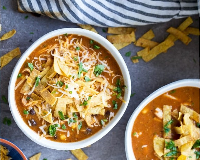 Creamy Chicken Tortilla Soup #dinner #recipes
