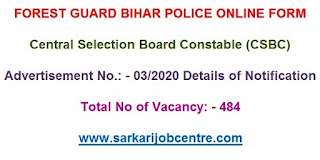 Bihar Police 484 Forest Guard Recruitment 2020 Result Released
