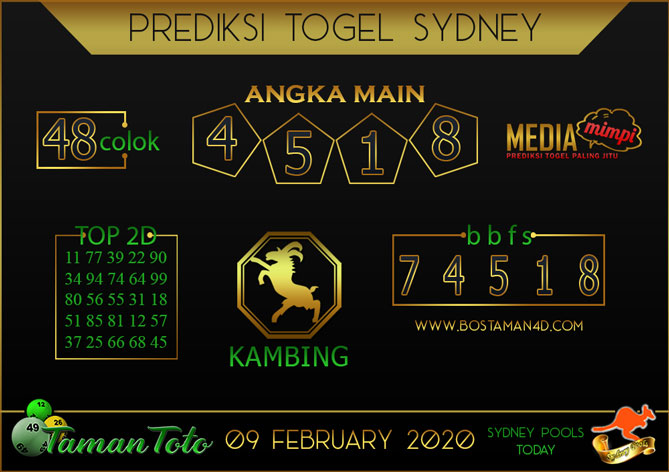 Prediksi Togel SYDNEY TAMAN TOTO 09 FEBRUARY 2020