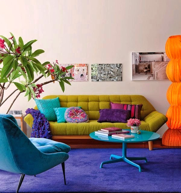 Bright And Colorful Rooms Tropical Style: Colorful Apartments Designing Ideas