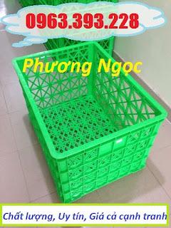 Sóng nhựa hở 8 bánh xe, sọt nhựa rỗng HS022, sọt rỗng công nghiệp 8 bánh 8bx6