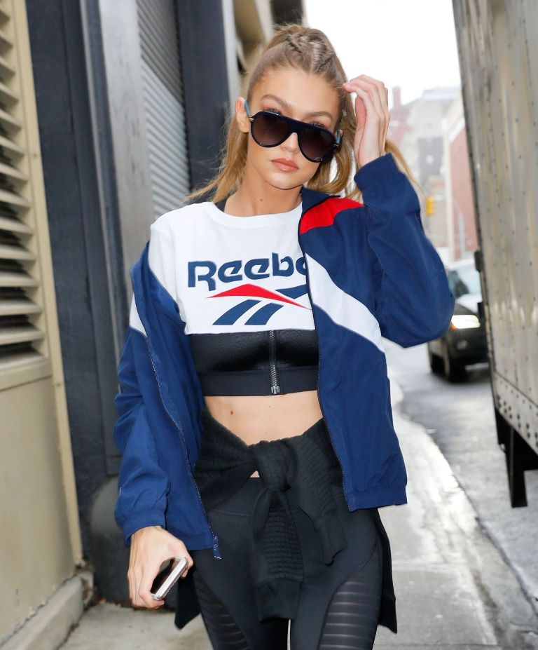 Gigi Hadid Style Out Leaving Reebok Panel in NYC