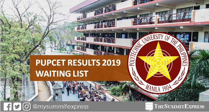 WAITING LIST: PUPCET Results AY 2019-2020