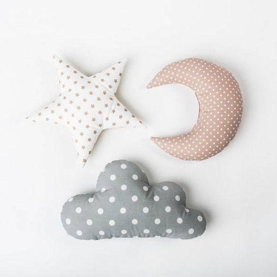وسادة اطفال اشكال والوان مختلفة - السحابة النجمة -star cloud pillow diy