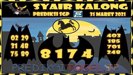 Prediksi Kalong SGP Rabu 31-Mar-2021