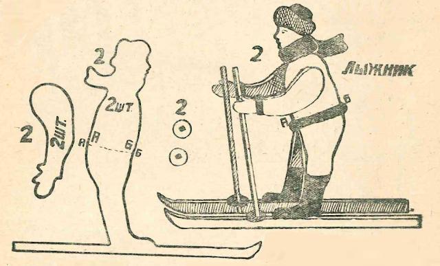 Лыжник - новогодняя поделка