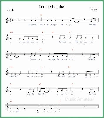 not balok lagu lembe lembe