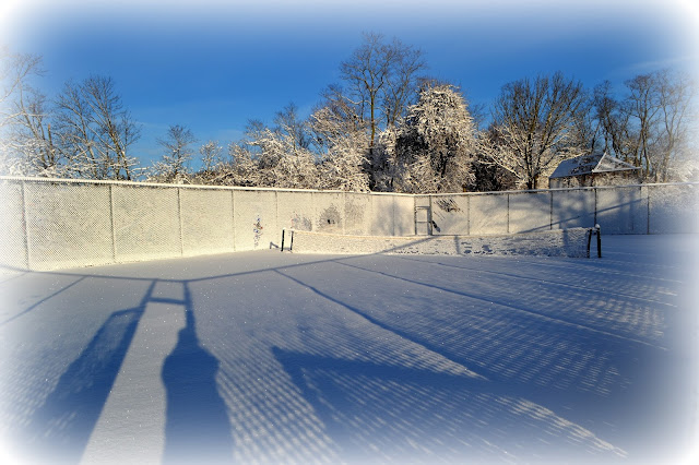 Snow, Tennis Court, Beverly, Massachusetts, shadows