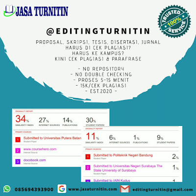 Jasa Cek Plagiarisme Turnitin Online Jurnal Skripsi Tesis Disertasi Bahasa Inggris Tercepat di Indonesia