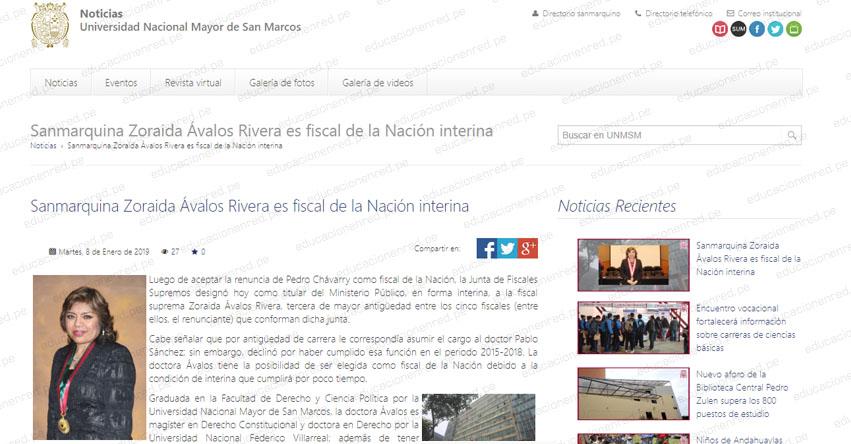 UNMSM: Sanmarquina Zoraida Ávalos Rivera es fiscal de la Nación interina - www.unmsm.edu.pe