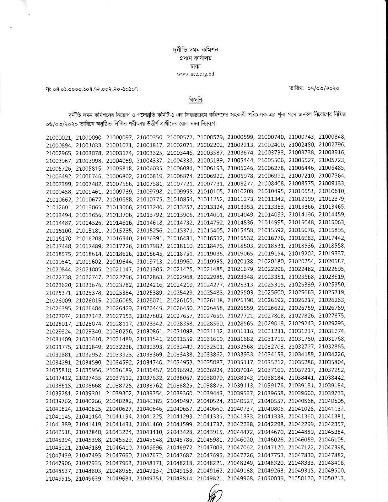 Acc job exam Result || দুর্নীতি দমন কমিশন এর লিখিত পরীক্ষার ফলাফল প্রকাশ